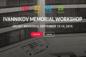 The annual Ivannikov Memorial Workshop will take place on 13-14 September 2019